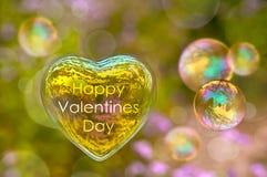 Carte heureuse de jour de valentines, bulle de savon Photographie stock libre de droits