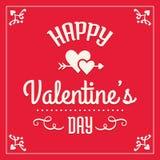 Carte heureuse de jour de valentines en rouge et crème Image libre de droits