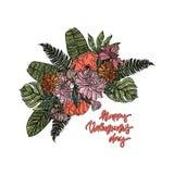 Carte heureuse de jour du ` s de Valentine avec le bouquet Image stock