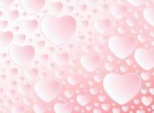 Carte heureuse de jour du ` s de Valentine avec le rose de coeurs de modèle sur le fond rose-clair Images stock