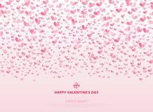 Carte heureuse de jour du ` s de Valentine avec le rose de coeurs sur le backgr rose-clair Images libres de droits