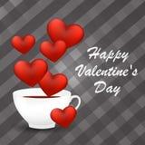 Carte heureuse de jour du ` s de Valentine avec une tasse de café et de coeurs Photo libre de droits