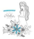 Carte heureuse de jour de mères avec la maman de grossesse Image stock