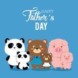 Carte heureuse de jour de pères avec la famille d'animaux illustration de vecteur