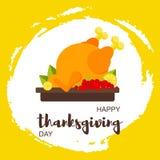 Carte heureuse de jour de thanksgiving avec des feuilles de poulet et d'érable, éclaboussure tirée de fruits en main Style plat m illustration stock