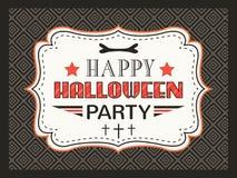 Carte heureuse de partie de Halloween Lettres de typographie Image stock