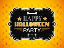 Carte heureuse de partie de Halloween Lettres de typographie Photo stock
