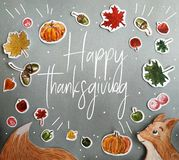 Carte heureuse de thanksgiving avec des détails d'aquarelle illustration de vecteur