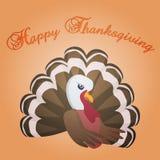 Carte heureuse de thanksgiving avec la dinde de bande dessinée illustration libre de droits