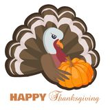 Carte heureuse de thanksgiving avec la dinde et le potiron de bande dessinée illustration libre de droits
