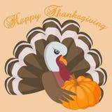 Carte heureuse de thanksgiving avec la dinde et le potiron de bande dessinée illustration stock
