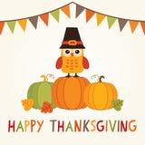 Carte heureuse de thanksgiving avec le hibou dans le chapeau de pèlerin sur des potirons Photo libre de droits