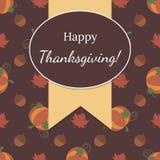 Carte heureuse de thanksgiving avec les feuilles et le modèle de potiron illustration stock