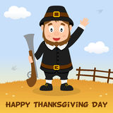 Carte heureuse de thanksgiving d'homme de pèlerin Photo stock