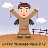 Carte heureuse de thanksgiving de femme indigène Images stock