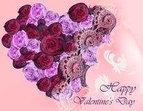 Carte heureuse de Valentine avec le vecteur de forme de coeur de pivoines de fleur réaliste Photos libres de droits