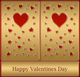 carte heureuse de Valentines d'or Photos stock