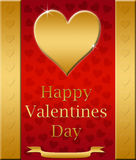 carte heureuse de valentines d'or   Photographie stock libre de droits
