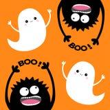 Carte heureuse de Veille de la toussaint Esprit volant du fantôme deux Ensemble principal de silhouette de monstre Boo Eyes, main illustration stock