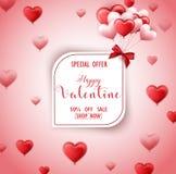 Carte heureuse de vente de jour de valentines avec les coeurs rouges et roses Photos stock