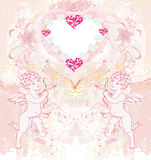 Carte heureuse de vintage du jour de valentine avec des cupidons Photos libres de droits
