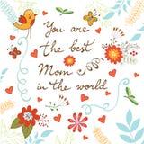 Carte heureuse du jour de mère avec des fleurs et des oiseaux Photo libre de droits