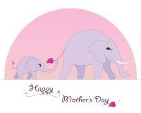 Carte heureuse du jour de mère d'éléphant photo libre de droits
