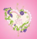 Carte heureuse du jour de mère Le coeur est fait en dentelle Photo stock
