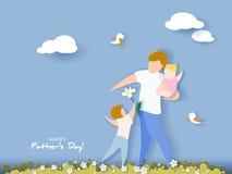 Carte heureuse du jour de père style de coupe de papier Photographie stock