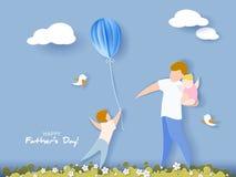 Carte heureuse du jour de père style de coupe de papier Images libres de droits