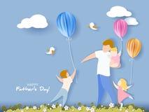 Carte heureuse du jour de père style de coupe de papier Photos libres de droits