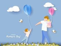 Carte heureuse du jour de père style de coupe de papier Photos stock