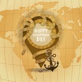 Carte heureuse du monde de carte de voeux d'affiche de Columbus Day America Discover Holiday rétro Photos stock