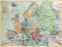 Carte historique de la vieille Europe Photographie stock