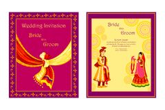 Carte indienne d'invitation de mariage illustration libre de droits