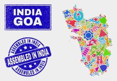 Carte industrielle d'état de Goa de collage et rayé réuni dans le filigrane de l'Inde illustration de vecteur