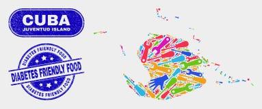 Carte industrielle d'île de Juventud et coupons alimentaires amicaux rayés de diabète illustration libre de droits