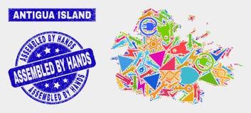 Carte industrielle d'île de l'Antigua de collage et rayé réuni par le filigrane de mains illustration stock