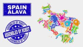 Carte industrielle de province d'Alava de collage et rayé réuni par le joint de timbre de robot illustration libre de droits