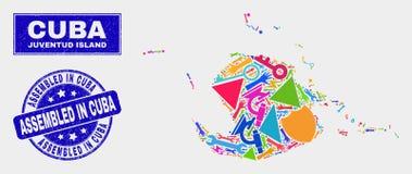Carte industrielle et grunge d'île de Juventud de mosaïque assemblés dans le joint de timbre du Cuba illustration stock