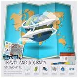 Carte Infographic du monde de voyage et de voyage Photographie stock libre de droits