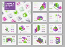Carte infographic isometriche di presentazione illustrazione di stock