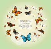 Carte inspirée de vecteur créatif avec des papillons de vol en cercle sur le fond gentil de vintage Photos libres de droits