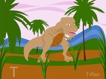 Carte instantanée d'alphabet animal, T pour le t-rex Photos stock