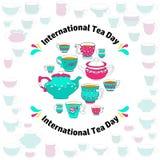 Carte internationale de jour de thé Vecteur Photographie stock libre de droits
