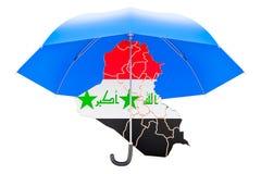 Carte irakienne sous le parapluie La sécurité et se protègent ou assurance concentrée Photographie stock libre de droits
