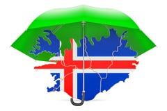 Carte islandaise sous le parapluie La sécurité et se protègent ou assurance Photo stock