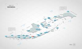 Carte isométrique de l'Indonésie avec des noms de ville et des divis administratifs illustration stock