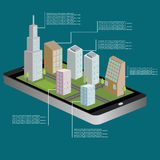 carte isométrique de la navigation 3D d'une petite ville au comprimé ou au téléphone intelligent Itinéraire de GPS Illustration d Photo stock
