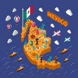 Carte isométrique de symboles touristiques mexicains d'attractions Image stock